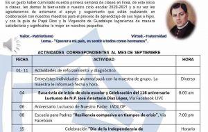 CALENDARIO DE SEPTIEMBRE PREESCOLAR CAMPUS GUADALUPE